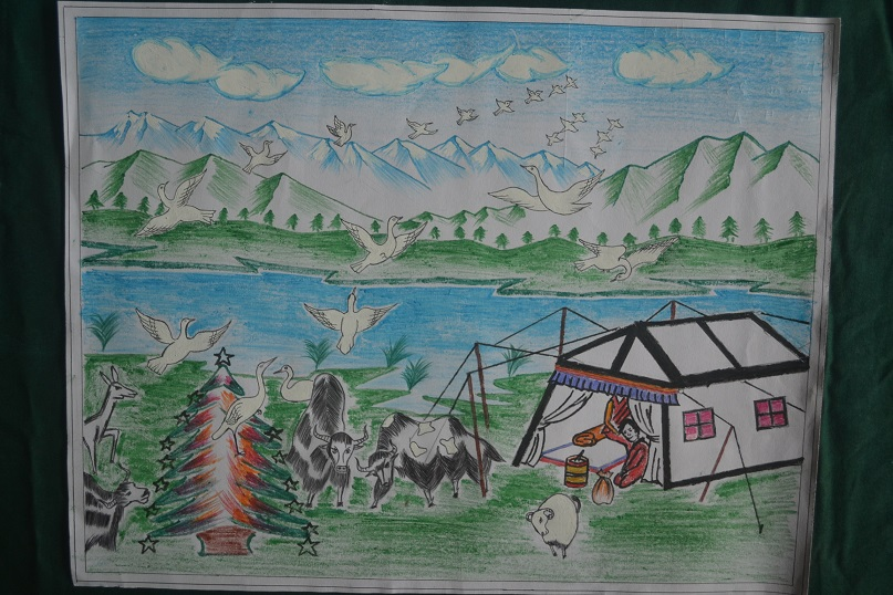 Thrung Thrung - White cranes (Thrung Thrung) bring good fortune to a nomadic Tibetan family and their yaks. By Ten Choedhen (Aged 9, Class 4A)