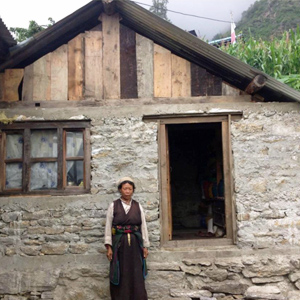 Woman with her new house