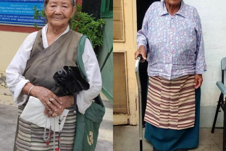Two retired weavers in Dekyiling receive support