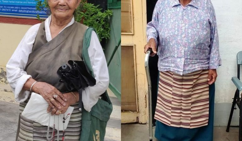 Two retired weavers in Dekyiling receive support