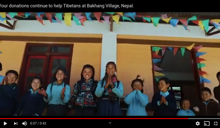 Video: Your donations continue to help Tibetans in Bakhang Village, Nepal.